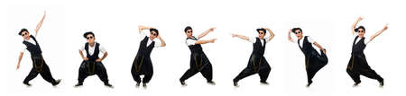 The funny young man dancing isolated on white Archivio Fotografico