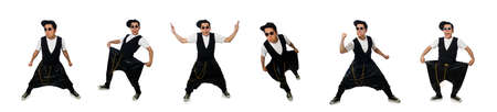 Funny young man dancing isolated on white Archivio Fotografico