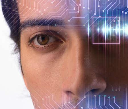 Concept of sensor implanted into human eye Stock Photo