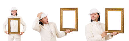 Man in white costume with picture frame