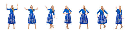 Woman in blue dress with flower prints isolated on white Banque d'images