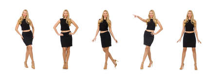 Pretty girl in black mini dress isolated on white Banque d'images