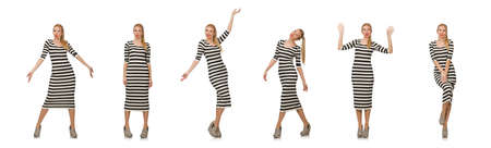 Young woman in long striped dress isolated on white Banque d'images