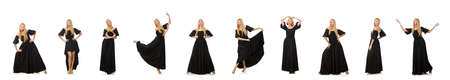 Tall woman in long black dress isolated on white Banque d'images