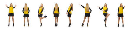 Blond hair girl in yellow and black clothing isolated on white