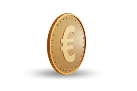 Golden coin euro - 3d rendering