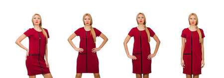 Blond hair woman in bordo dress isolated on white
