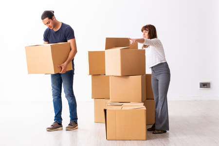 Young pair and many boxes in divorce settlement concept Zdjęcie Seryjne
