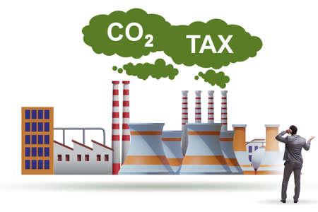 Businessman in carbon tax concept Фото со стока