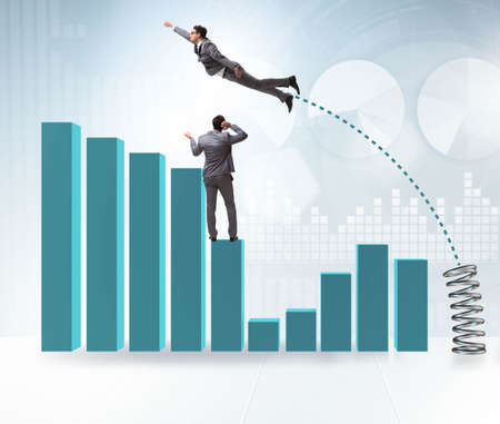 The businessman outperforming his competition jumping over