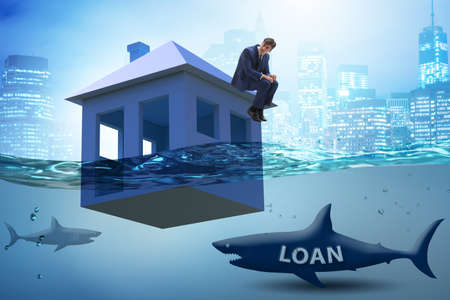 Mortgage repayment failure concept with man