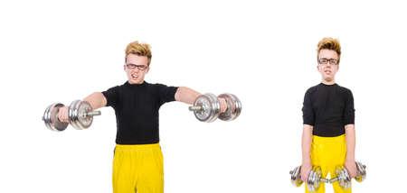 Funny guy with dumbbels on white Standard-Bild