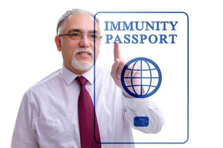 Concept of immunity passport - pressing virtual button Zdjęcie Seryjne