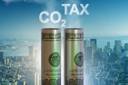 Concept of carbon tax in ecology concept - 3d rendering