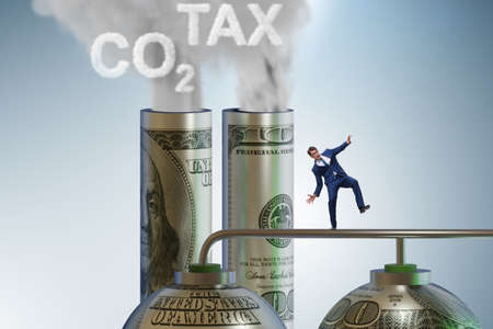 Businessman in carbon pricing concept Stock Photo