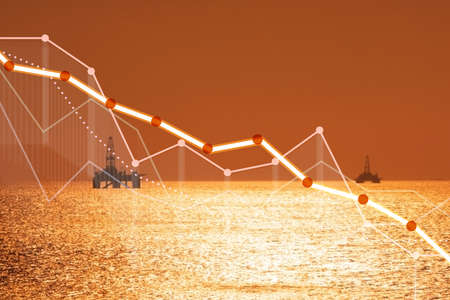 Oil industry decline concept with chart Stock Photo