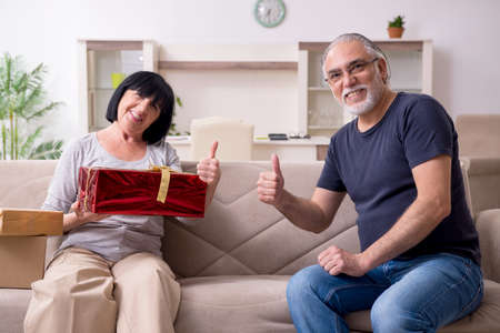 Old couple doing the online shopping
