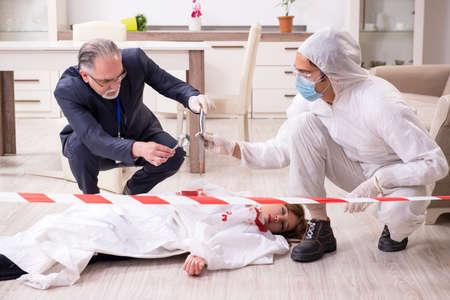 Forensic experts at the crime scene Archivio Fotografico