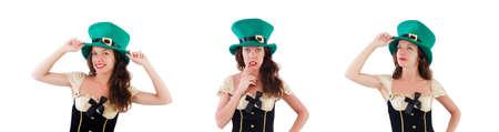 Female model in Irish costume isolated on white Standard-Bild