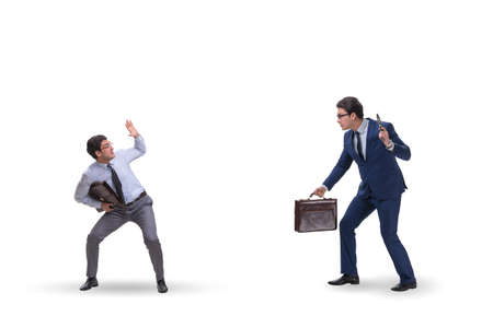 Businessman with gun threatening his competitor