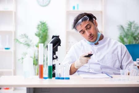 Male chemist examining wine samples at lab Reklamní fotografie