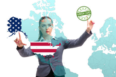 Concept of immigration to USA with virtual button pressing Reklamní fotografie
