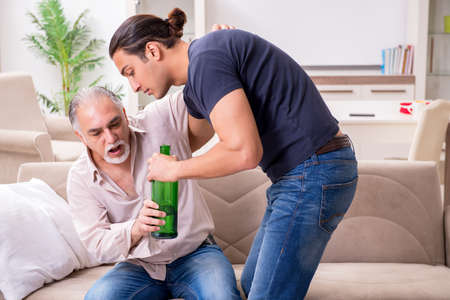 Man with drinking problem and the family