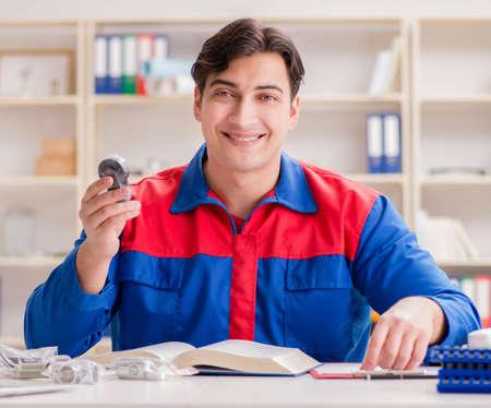 Worker in uniform working on project