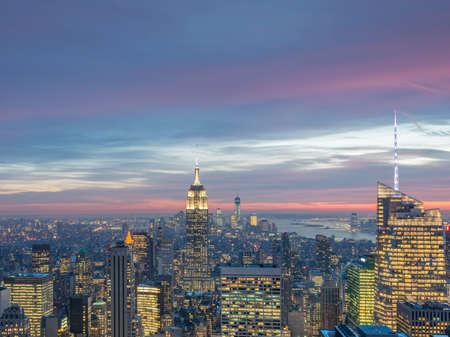 Night view of New York Manhattan during the sunset