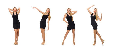Young pretty woman in mini black dress isolated on white background Reklamní fotografie