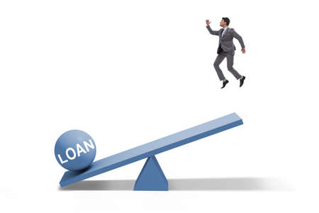 Debt and loan concept with businessman and the seesaw 스톡 콘텐츠