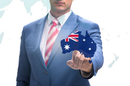 Concept of immigration to Australia with virtual button pressing Reklamní fotografie
