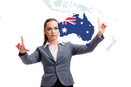 Concept of immigration to Australia with virtual button pressing Foto de archivo
