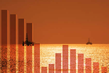 Oil industry decline concept with the chart Stock Photo