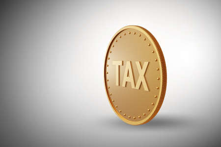 Tax concept with the gold coin - 3d rendering