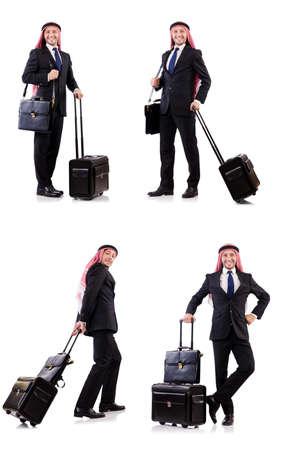 Arab man with luggage on white Standard-Bild