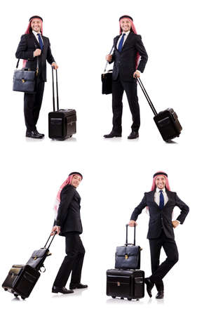 Arab man with luggage on white Reklamní fotografie
