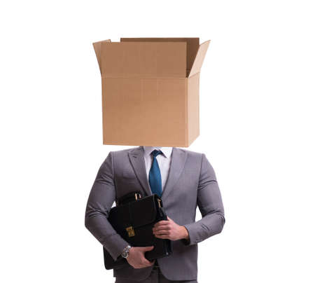 The businessman with blank box on his head