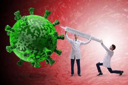 Coronavirus covid-19 vaccine concept with doctors and syringe