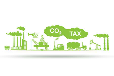 Carbon tax concept with industrial plant