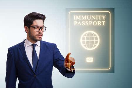 Concept of immunity passport - pressing virtual button