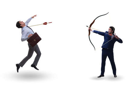 Business competition concept with businessman and bow