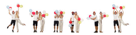 Funny pair with balloons isolated on white