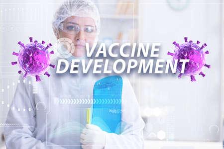 Woman doctor working on coronavirus covid-19 vaccine 스톡 콘텐츠