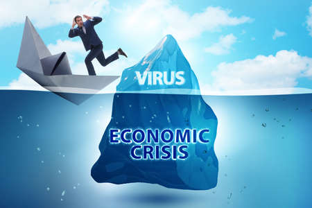 Economic crisis concept in coronavirus covid-19 Banque d'images