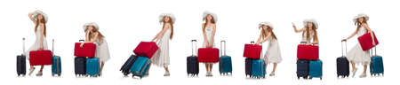 Woman in travelling concept on white Foto de archivo