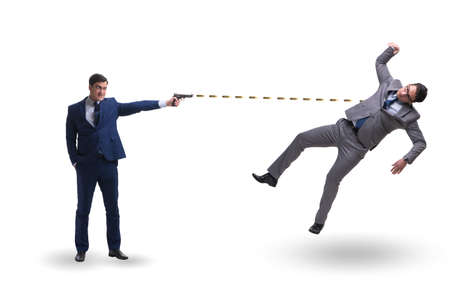 Businessman with gun threatening his competitor Stock fotó