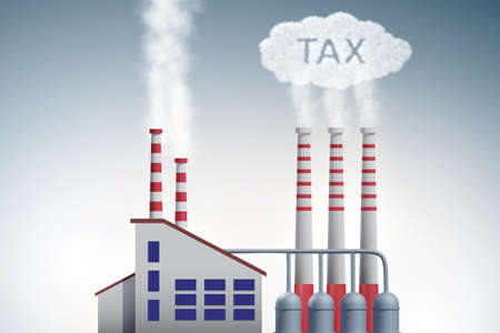 Plant in carbon tax and the pollution concept - 3d rendering