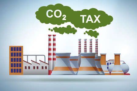 Carbon tax concept with the industrial plant