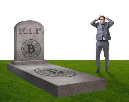 Businessman mourning the demise and death of bitcoin Stock Photo